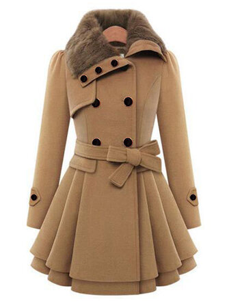 Women Double-Breasted Winter Warm Coats with Belt