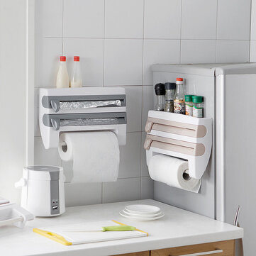 Muhui ABS Kitchen With Cutting Plastic Wrap Storage Rack Paper Towels Towel Rack Kitchen Storage Rack