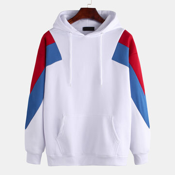 Mens Patchwork Color Printed Long Sleeve Hooded Sweatshirt