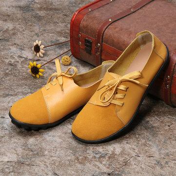 Plus size נשים תחרה בדירות עור Soft Casual Shoes