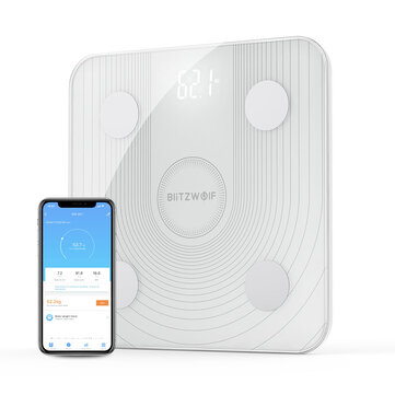 BlitzWolf� BW-SC1 WiFi Smart Body Fat Scale APP Control BMI Data Analysis with 13 Body Metrics Digital Weight Smart Scale