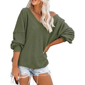 Kasual warna Solid V-neck lengan panjang longgar sweater wanita