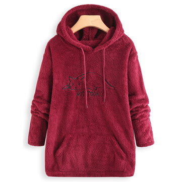 Embroidery Cat Pockets Casual Hoodie Sweatshirt for Women