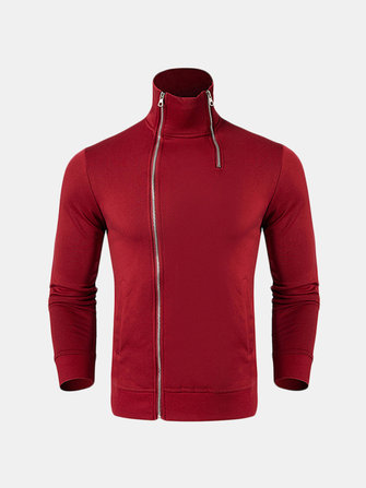 Men's Fashion Double Zipper Stand Collar Sweatshirt Casual Cotton Solid Color Long Sleeve Tops