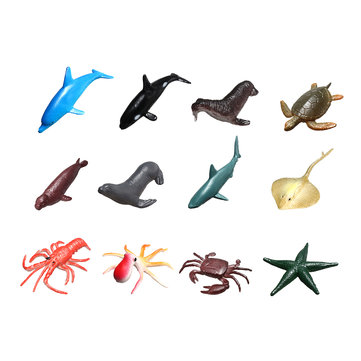Buy 12Pcs/Set Plastic Ocean Animals Figure Sea Creatures Model Toys Dolphin Turtle Starfish Crab Octopus Squid with Litecoins with Free Shipping on Gipsybee.com