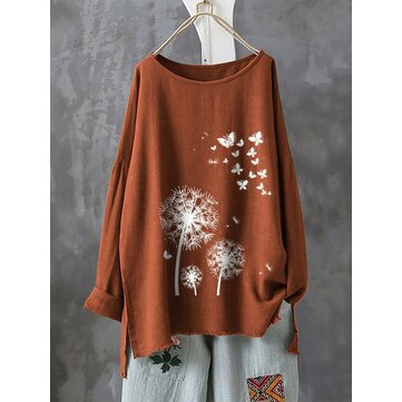 Casual Print Butterfly Flower Cew Neck Long Sleeve T-Shirts
