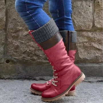 Women Plus Size Stitching Round Toe Comfy Casual Lace Up Mid Calf Boots