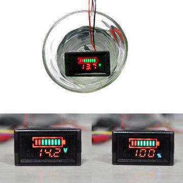 2 in1 Waterproof Battery Capacity Indicator LED Digital Voltage 12V 24V 36V 48V Lithium Lead Acid Batteries Voltmeter Tester Meter