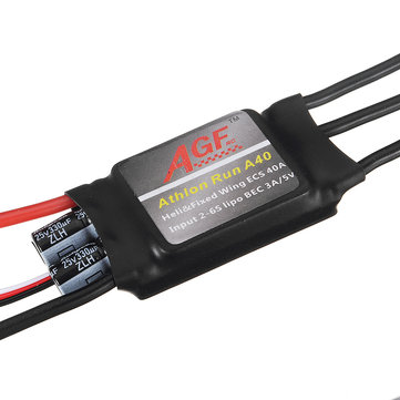 AGF Athlon Run A40 Mini 40A 2-6S Lipo Brushless ESC With 5V 3A BEC For RC Helicopter Airplane