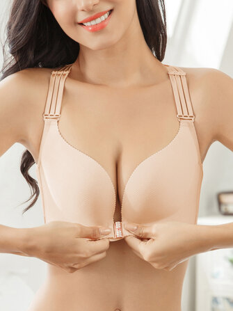 Plus Size Front Closure Strappy Gather Breathable Bra