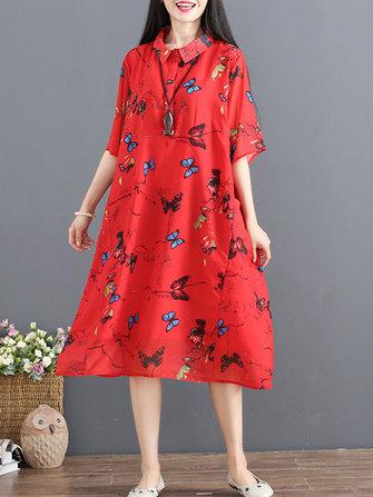 Casual Kadın Çiçek Baskılı Kısa Kollu Turn-Down Yaka Şifon Elbise