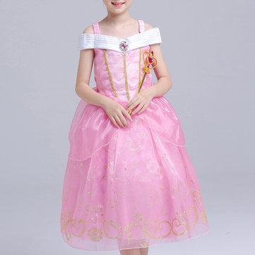Rosa Chicas Niño De Remiendo De Hombro Fantasía Princesa Vestido