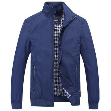 Casual Business Plus Size XS-5XL Zipper màu tinh khiết Áo khoác mùa xuân cho nam