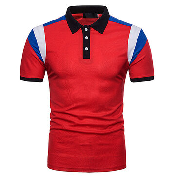 Men's Short Sleeve Lapel Golf Shirt Summer Matching Color Casual Tops Tees
