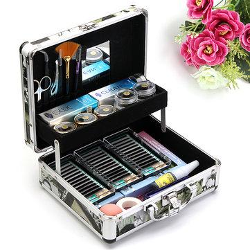 Professionell False Eyelash Extension Limborste Kit Set Tool Box