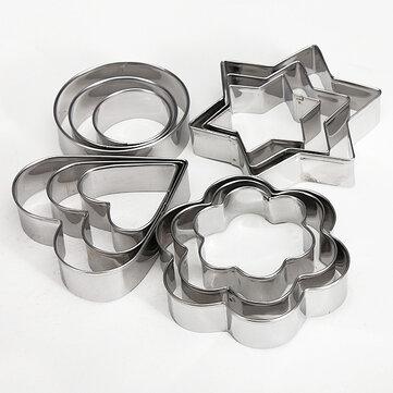 12 piezas de acero inoxidable de la torta de la galleta del corazón de la flor de corte del molde cookied