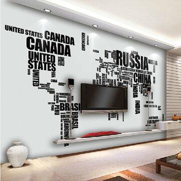 Diy grande mapa mundo parede decalque Inglês Alfabeto da parede removível adesivos decalque