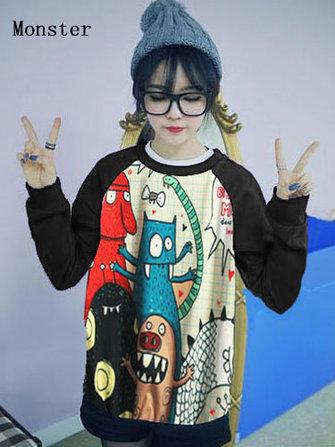 महिला कार्टून प्रिंट लंबी आस्तीन शर्ट स्वेटरशॉट टॉप