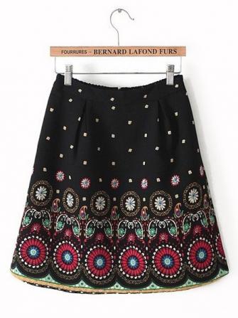 पोजिशनिंग प्रिंटिंग पैटर्न लोचदार कमर स्कर्ट