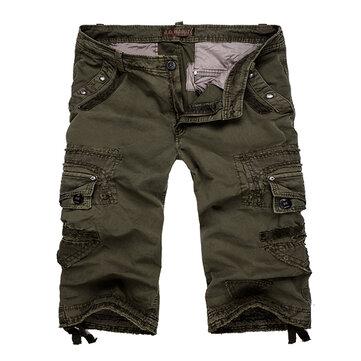 पुरुषों मल्टी जेब कपास बड़े आकार के शॉर्ट्स आरामदायक कार्गो पैंट