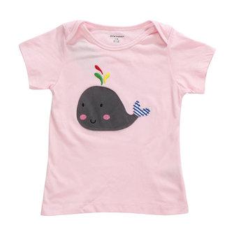 2015 नई लिटिल मेवेन ग्रीष्मकालीन बेबी गर्ल बच्चे व्हेल गुलाबी कपास लघु आस्तीन टी शर्ट