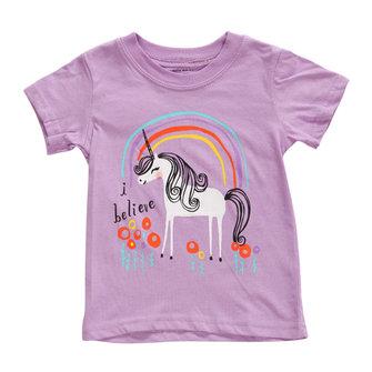 2015 New Little Maven Summer Baby Girl Children Horse Purple Cotton Short Sleeve T-shirt