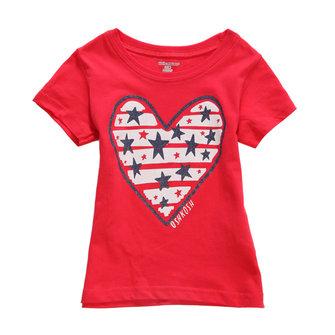 2015 नई लिटिल मेवेन ग्रीष्मकालीन बेबी गर्ल चिल्ड्रेन हार्ट रेड कपास लघु आस्तीन टी शर्ट