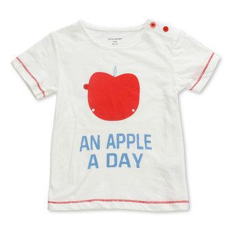 2015 नई छोटी मेवेन बेबी गर्ल बच्चे ऐप्पल व्हाइट कपास लघु आस्तीन टी शर्ट टॉप