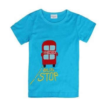 2015 नई लवली बस बेबी चिल्ड्रेन बॉय शुद्ध कपास लघु आस्तीन टी शर्ट टॉप