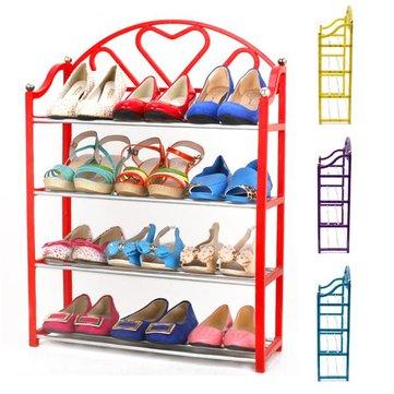 4 Tier Stack Shoes Display Storage Organizer Rack Stand Shelf Holder Unit Shelves