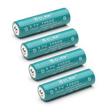 4pcs MECO 3.7V 1200mAh Rechargeable 14500 Li-ion Battery
