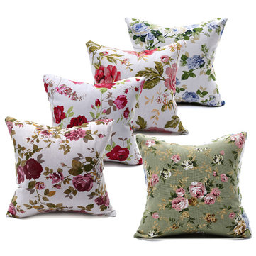 Canvas Flower Printed Throw Pillow Case