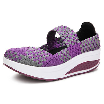 Handmade Knitted Women Platform Casual Sports Shake Shoes