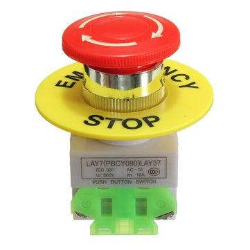 Emergency Stop Push Button Switch NO NC Self Locking Red Mushroom Cap 660V 10A